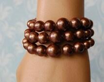 Vintage Brown Ombre Bead Bracelet 1950s