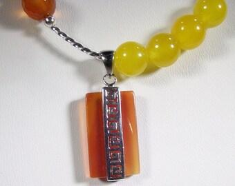 CARNELIAN TOPAZ and  JADE Necklace (Tifara) by Gonet Jewelry Design