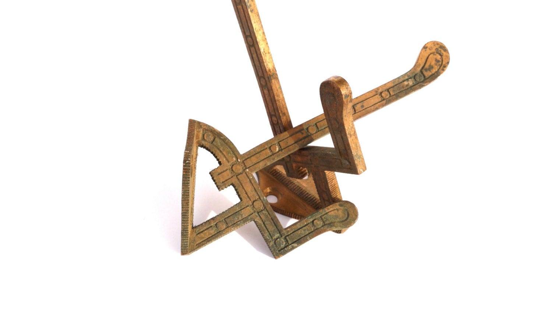 Vintage Coat Hooks Brass Hardware Simple Geometric By Mygsbird