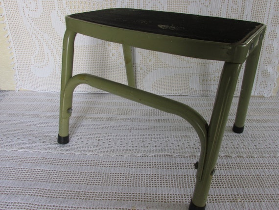 Vintage Metal Stool, Industrial Chic metal bench, Corner Tuck, Primitive Vintage Decor, industrial display stool, Industrial metal stool