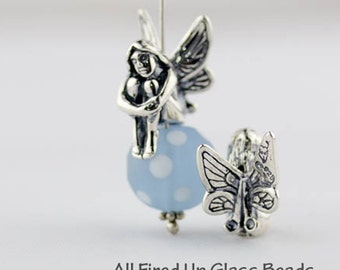 Large Fairy Bead Cap Charm, Sterling Silver, Made in the USA