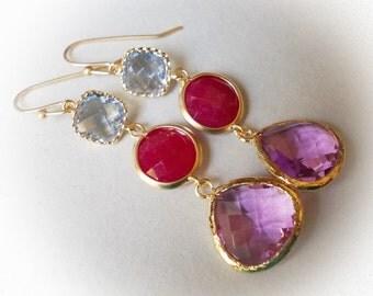 Long earrings gold amethyst ruby sapphire red blue violet purple long glass drop earrings gold framed glass jewels dangle earrings for women
