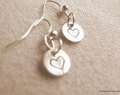 Sterling Silver HEART Earrings Small  Circle Charm Earrings Sterling Silver Bali Ear Wires Minimalist