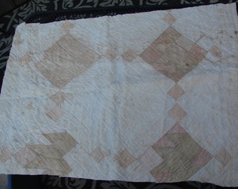 Vintage Hand Quilted Well Worn Persimmon Cutter Quilt Piece
