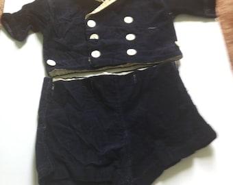 Vintage Blue Corduroy Toddler Dressy Shirt and Shorts