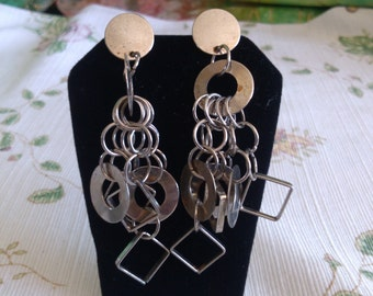 3 1/2 inch Dangling Circles and Squares Post Earrings