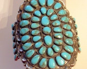 LAYAWAY For Denise - Payment 3 of 3 -FINAL - Vintage Navajo Hopi Turquoise Bracelet - Sterling - HUGE 4 Inches Tall - Signed