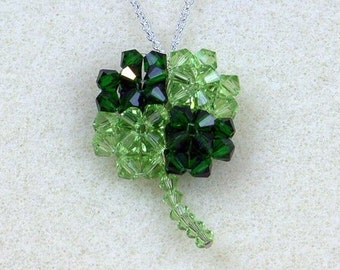 Beading Pattern: Puffy Four Leaf Clover Pendant