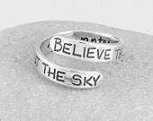 Inspirational Jewelry - Silver Poetry Ring Cervantes Quote - Graduation Gift - Adjustable Ring