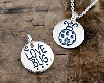 Love Bug Charm - Ladybug Necklace - Lovebug Jewelry, Gift for Daughter