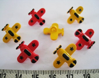 22pcs of Aeroplane Button Novelty Button - Red Yellow