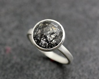 Limited Edition Black Tourmalated Quartz and Sterling Silver Ring, Satellite Setting Gemstone Solitaire