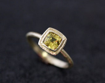 Yellow Sapphire and 14k Yellow Gold Hammered Halo Ring, Canary Yellow Sapphire, Recycled Gold,  Ready To Ship Size 8