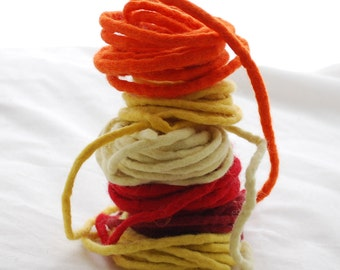 100% Wool Felt Cord - 6 Cords - Assorted Yellow, Red and Orange