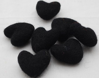 3cm 100% Wool Felt Hearts - 10 Count - Black
