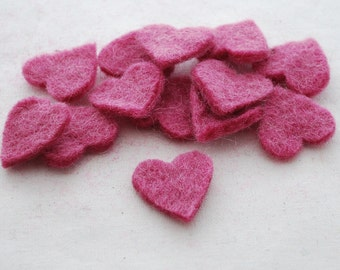 100% Wool Felt Heart Die Cut - 28mm - 100 Count - Victorian Rose Pink