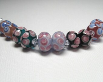 Lampwork Glass Rondelle Bead Set Earring Pairs - Qty 10 plus crystal spacers