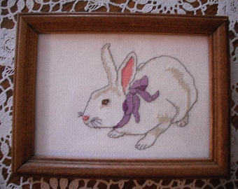 """Finished and Framed- Hand Embroidered- """"My White Rabbit"""""""