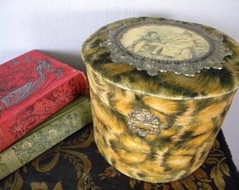 Unusual Antique Velvet and Celluloid Collar Box