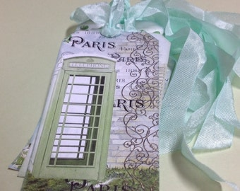Set of Six Large French Inspired Gift Tags - French Garden - French Script - Cafe - Iron Fence -