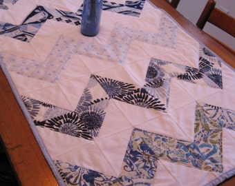 Quilted Blue Chevron Table Runner / Wall Hanging