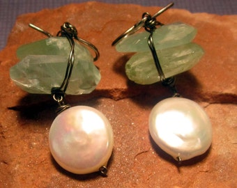 Aquamarine Earring, Wire Wrapped Earrings,  White Coin Pearls