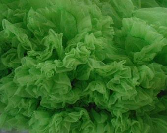 juicy bright key lime pie green authentically vintage chiffon petticoat, w/ ruffled panties, square dance wear crinoline skirt, rare color