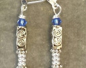 Doctor Who inspired earrings crystal beads, sonic screwdriver blue or green