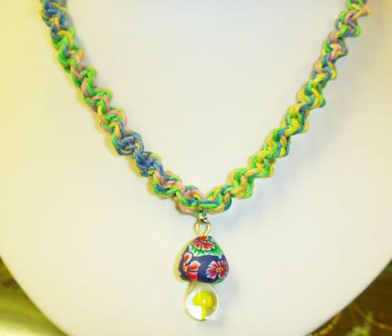Colorful Spiral Hemp Necklace with Glass Fimo Yellow Mushroom Pendant  handmade macrame jewelry  hippie  girls