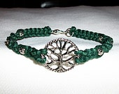 Celtic Tree of Life Hemp Bracelet - Hemp Jewelry - Green Hemp and Silver Tree Pendant