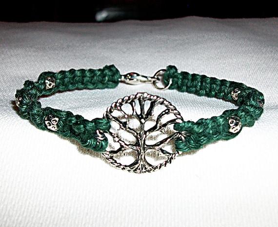 Celtic Tree of Life Hemp Bracelet - Hemp Jewelry - Green Hemp and Silver Tree Pendant - Tree Bracelet - Celtic Hemp Bracelet - Tree Jewelry