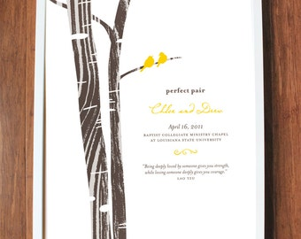 Family tree wedding print with wood grain tree and birds, CUSTOM, LARGE
