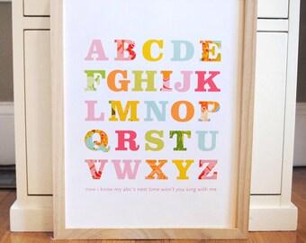 Alphabet Print, nursery decor, baby print, patterned alphabet print, pastel, girls room, modern nursery, ready to ship, 8x10 SET