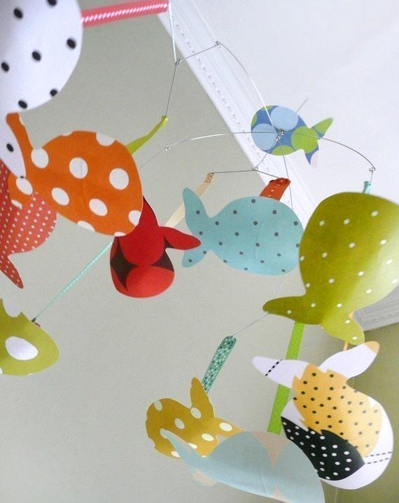 Fish Mobile, baby mobile, ocean mobile, modern baby mobile, custom baby mobile, modern nursery art, baby room decor, custom baby gift