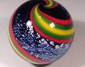 2 inch cosmic swirl paperweight Mentuck art glass