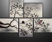 Abstract Painting, Birds Painting, Landscape Painting, Tree Painting, Wall Art, Wall Decor, Large Painting, Black White Red, Made To Order