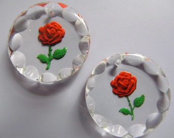 Vintage Glass Beads (1) German Red Rose Pendant