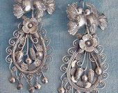 Frida Style Large kissing Doves earrings with filigree and leaves