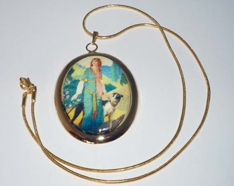 Altered Art Vintage Lady with Greyhound Dog GP Pendant Necklace