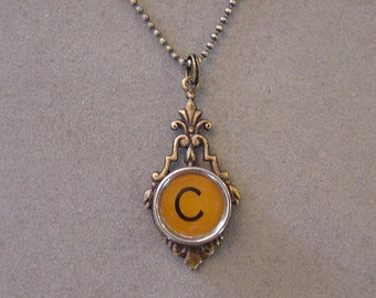 Brass Typewriter Key Necklace BUTTERSCOTCH LETTER C - Antiqued brass setting Initial C Typewriter key Initial Necklace C
