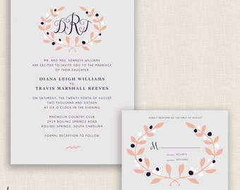 FLORAL & LOVELY - DIY Printable Wedding Set - Invitation and Reply Card