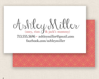 CIRCLES & SALMON - Double Sided - DIY Printable - Mommy Calling Card Template