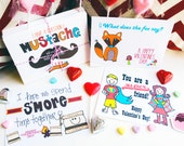 Variety Valentine Classroom Set-- Fox, Smores, Mustache and Super Hero Friends