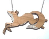 Running Fox Necklace, laser cut, laser etched, cherry wood, brooch, jewellery, jewelry, fox, woodland animal