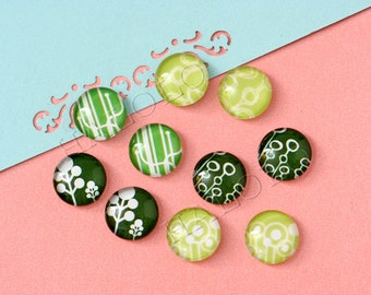 10pcs handmade assorted green  round clear glass dome cabochons 12mm (12-0842)