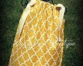 Girls Pillowcase Dress Mustard and Eggshell Lattice with Ribbon Ties Sz 6mo 12mo 18mo 2T 3T 4T 5 Sz 6, 7, 8 Three Dollars More