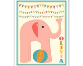 Personalized Children's Wall Art / Nursery Custom Circus Elephant with Name print by Finny and Zook