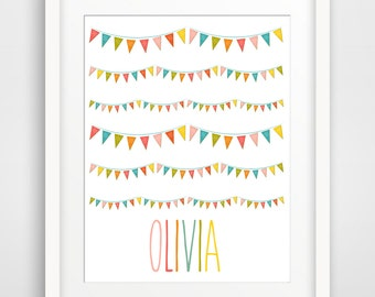 Personalized Children's Wall Art / Nursery Custom Child's Name with Flag Bunting print by Finny and Zook