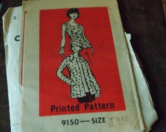 2 1970s Mail order Patterns Sewing GRIT 1384 Dress size 14 1/2 Marian Martin 9150 Jacket Top Hat