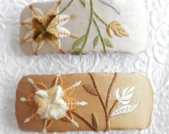Dark gold or ivory barrette, floral barrette,  fabric barrette, fabric barrette, hair accessory, fashion accessory